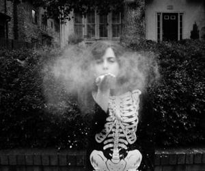 skeleton, girl, and dust image