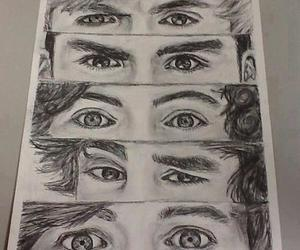 one direction, drawing, and eyes image