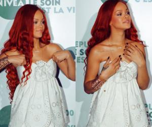 rihanna, hair, and red image