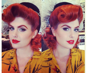 hair, pinup, and red lips image