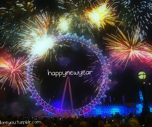 fireworks, london, and newyear image