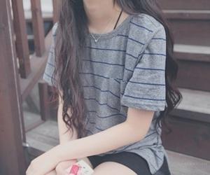 brown hair, hair, and dark hair image