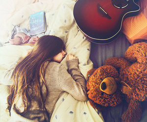 girl, bear, and bed image
