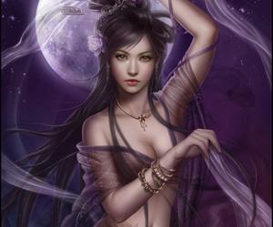 art, moon, and fantasy image