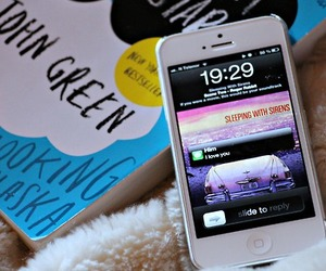 book, iphone, and john green image
