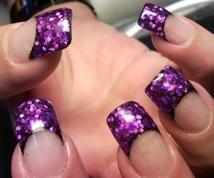 glitter, purple, and acrylic nails image
