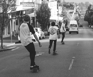 black and white, skateboard, and boys image