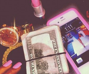money, pink, and iphone image
