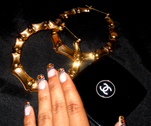 nails, chanel, and earrings image