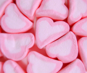 marshmallow, candy, and hearts image