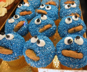cookie monster, cupcake, and cookie image