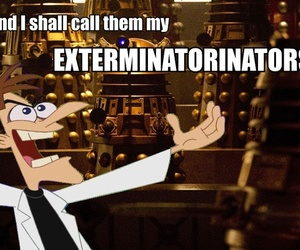 daleks, doctor who, and phineas and ferb image