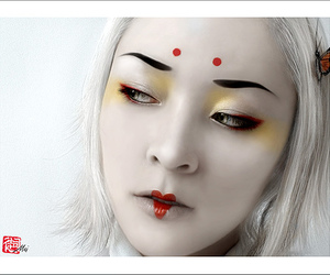 geisha, oriental, and red lips image