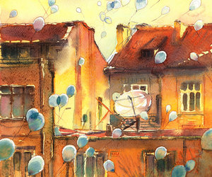 art, balloons, and paint image