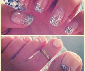diamonds, glitter, and manicure image