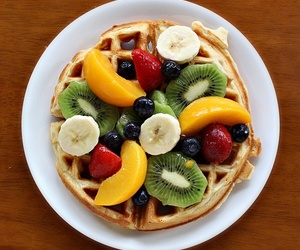 fruit, food, and waffles image