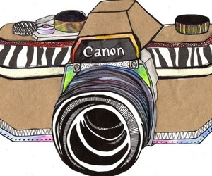 camera, canon, and drawing image