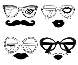 glasses, moustache, and lips image