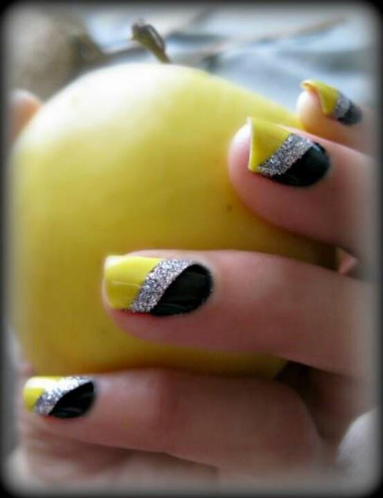 See More Yellow Silver And Black Nail Style High Fashion W