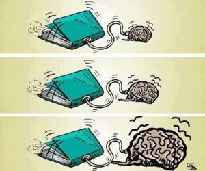book, brain, and black and white image
