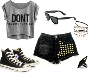 black, outfit, and converse image
