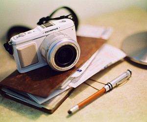 camera, photography, and pen image