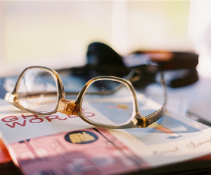glasses, vintage, and book image