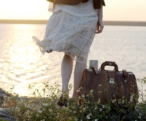 flowers, suitcase, and bag image