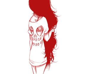 hair, skull, and black image