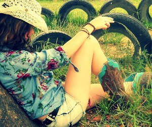 cowboy boots, small town girl, and cowboy hat image
