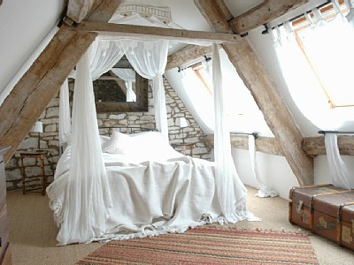 bed, wall, and attic image