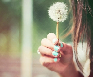 girl, nails, and flowers image
