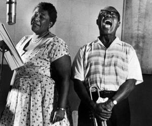 ella fitzgerald, louis armstrong, and music image