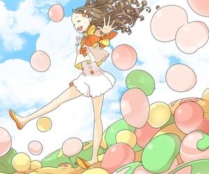 anime, anime girl, and balloons image