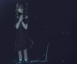 anime girl, black, and blue image