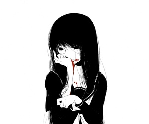 anime, awesome, and black and white image