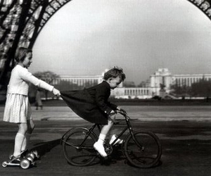paris, black and white, and child image