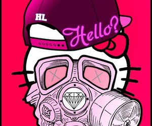 gas mask, trill, and hello kitty image