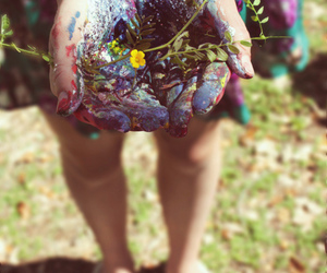 hands, color, and flowers image