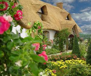 countryside, house, and flowers image