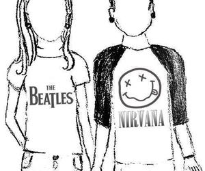 nirvana, the beatles, and couple image