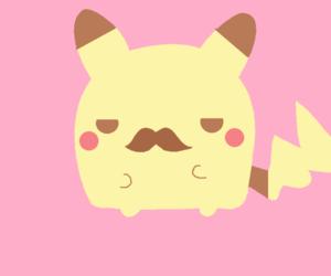 pikachu, kawaii, and mustache image