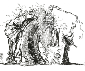 dumbledore, illustration, and ink image