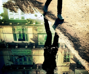 reflection, water, and street image