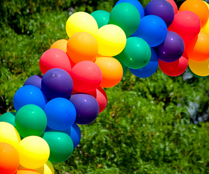 balloons, rainbow, and colorful image