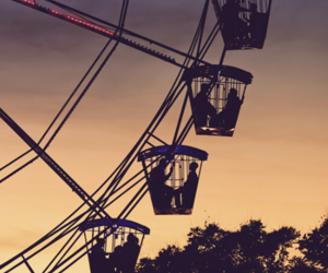 sunset, ferris wheel, and couple image