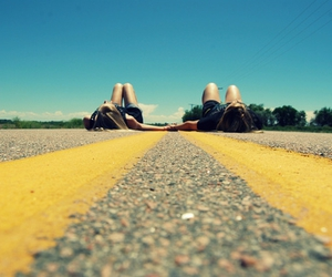 couple, road, and hands image