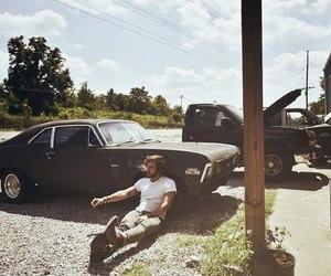 car, boy, and smoke image