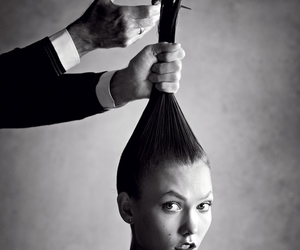 hair, Karlie Kloss, and black and white image