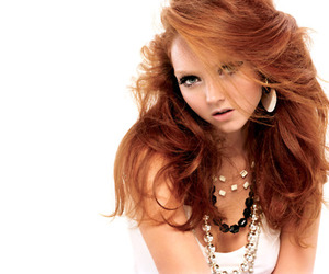 Lily Cole, necklace, and makeup image
